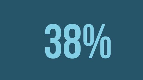 Rising percentage in blue on grey 4k Animation