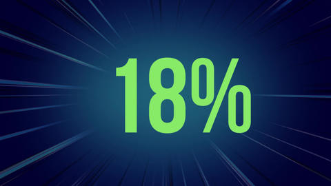 Increasing green percentage on dark blue with flashing lines of light Animation