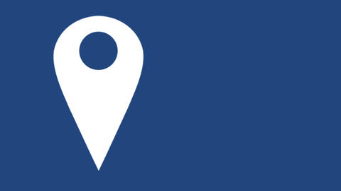 GPS map pin filling in blue on a blue background 4k Animation