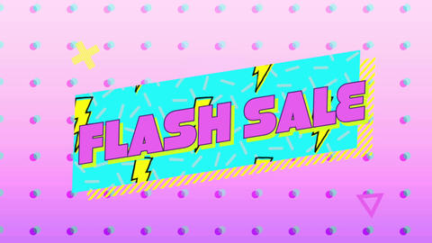 Flash sale graphic in blue banner on pink background 4k Animation