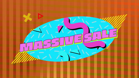 Massive sale graphic on blue oval with orange striped background Animation
