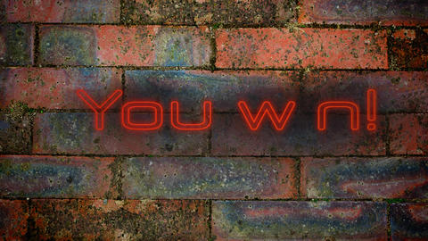 You win! in red neon on brick wall background Animation