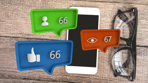 Different icons and a table with a mobile phone and eyeglass for social media Animation