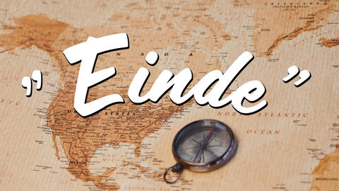 Einde text and a map with compass Animation