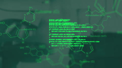 Green data moving over defocussed image of chemistry flasks Animation
