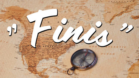 Finis sign and a world map with compass Animation