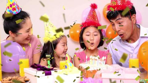 Family celebrating a birthday party Animation