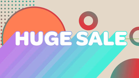Huge sale graphic and circles on beige background Animation