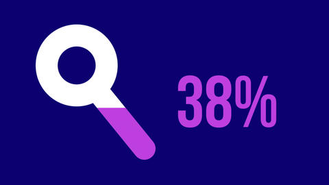 Search progress with magnifying glass icon and rising percentage in pink on blue background 4k Animation