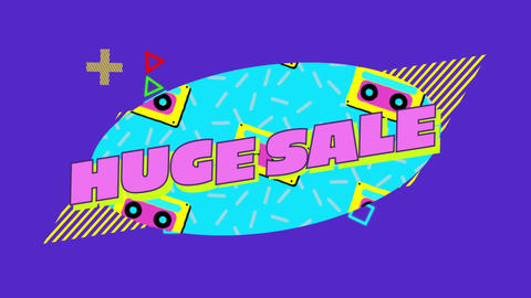 Huge sale graphic in blue oval with moving elements on purple background Animation