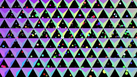 Rising coloured circles behind a grid of colourful reflective triangles on black Animation