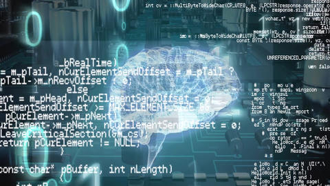 Digital brain and program codes with binary codes and a background of a digital circuit Animation