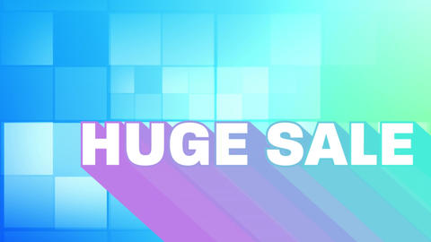 Huge sale graphic on background of blue squares Animation
