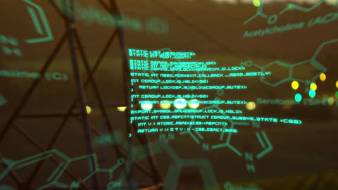 Chemical structures with program codes and a background of transmission towers with bokeh lights Animation