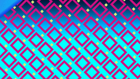 Enlarging squares on blue background with colourful stripes passing in foreground Animation