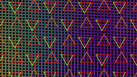 Rotating triangles in formation on a colourful mesh background Animation