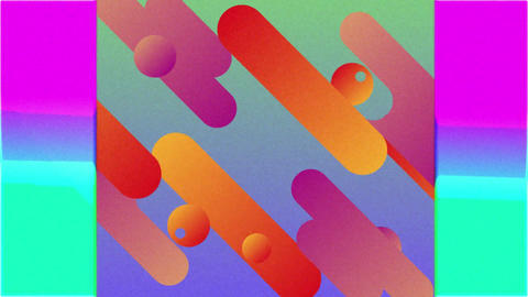 Coloured capsule shapes and concentric squares moving over changing backgrounds Animation