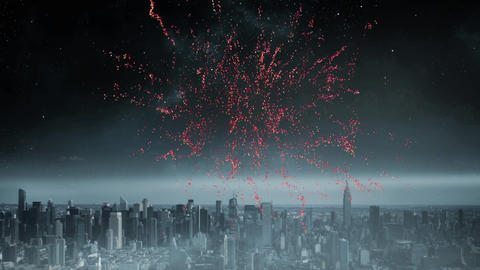 Fireworks in the sky and a view of a city Animation