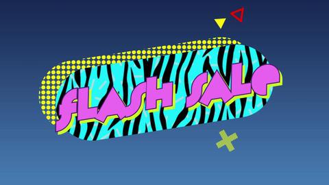 Flash sale pink graphic on blue zebra striped capsule shape against dark grey background 4k Animation