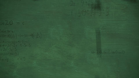 Mathmatical calculations falling to green chalkboard background 4k Animation