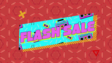 Flash sale graphic on blue banner with tapes and tape players on patterned red background Animation