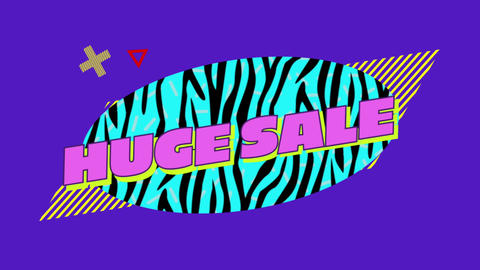 Huge Sale graphic on blue oval with zebra stripes purple background 4k Animation