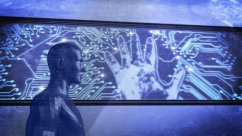 Human model outdoors in front of display showing glowing circuit board and hand Animation
