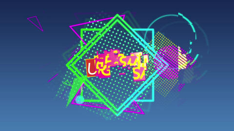 Huge sale graphic and colourful shapes tumble into place on dark grey background 4k Animation