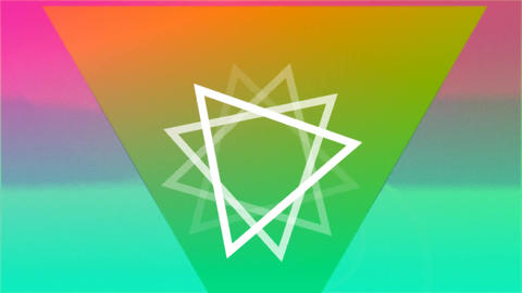 Rotating triangles on colourful background Animation