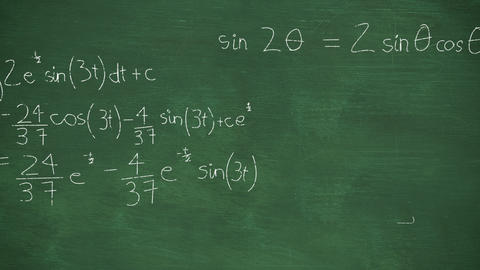 Mathmatical calculations written in chalk floating above green chalkboard background 4k Animation