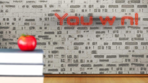 You win! in red neon on brick wall in a room Animation