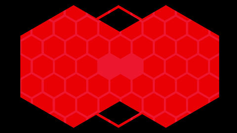 Kaleidoscope of red hexagons on black Animation