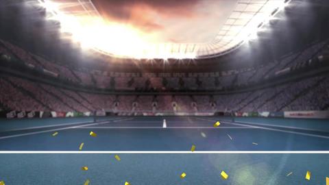 Stadium with gold confetti Animation