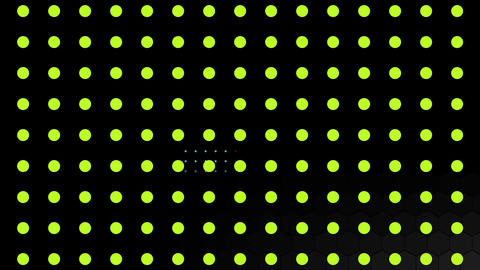 Green dots and hexagon mesh with large grey hexagons moving on black Animation