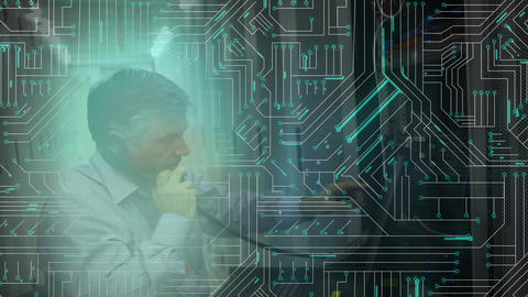 Man checking equipment in a computer server room and computer circuit board Animation