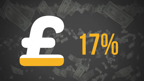 Pound symbol and increasing percentage with falling notes Animation