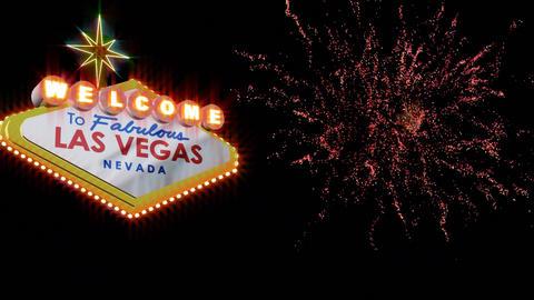 Las Vegas Nevada signage with fireworks Animation