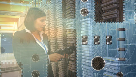 Woman checking equipment in a computer server room Animation