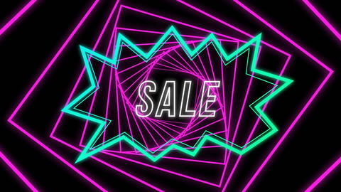 Sale graphic in blue shape with rotating pink spiral on black background Animation