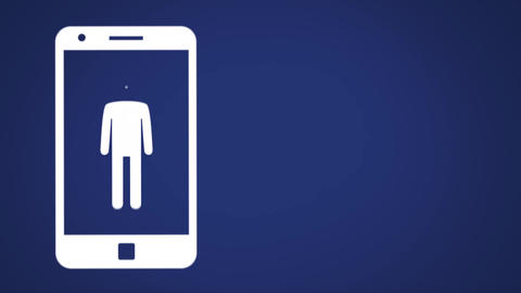 Icon of male shape on smartphone screen filling up with colours 4k Animation