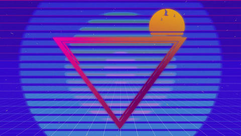 Tropical triangle with colourful circles and purple background Animation