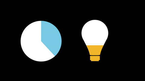 Pie chart and light bulb shapes filling up with colours 4k Animation