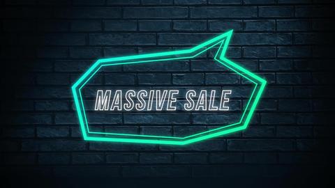Massive sale words in green neon speech bubble Animation
