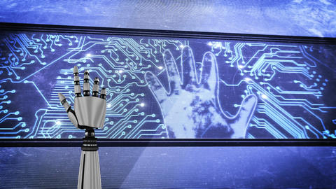 Robot hand and a big screen with glowing circuit board and flashing hand Animation