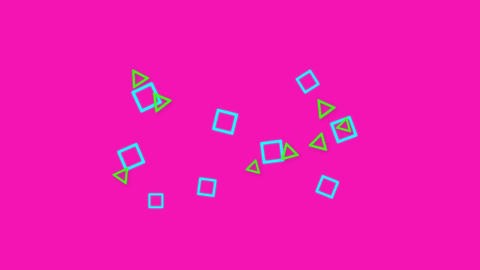 Moving squares and circles on bright pink background Animation
