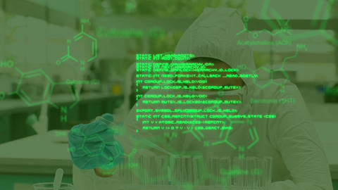 Scientist working in lab with moving green data Animation