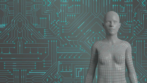 Female android and glowing green circuit board Animation