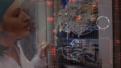 Woman working on computer server while glowing motherboard moves in foreground Animation