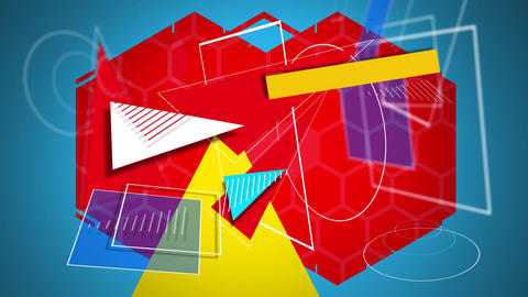 Geometric shapes converge and disappear around a yellow triamgle and red hexagons Animation