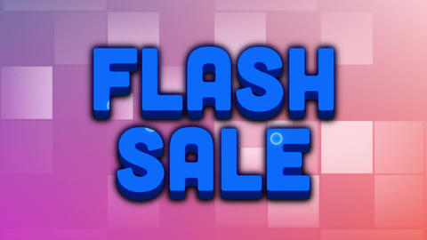 Flash sale graphic and moving colourful blotches on pink squares Animation